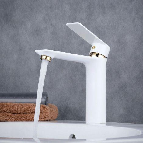 Mischbatterie Einhand Rund Design in Weiß für Waschtisch