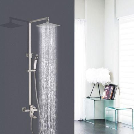 Duschsystem Aufputz Wandmontage Regenbrause Set mit Handbrause in Gebürstet/Chrom/Schwarz