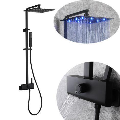 Led Duschsystem Aufputz mit Handbrause aus Messing in Schwarz