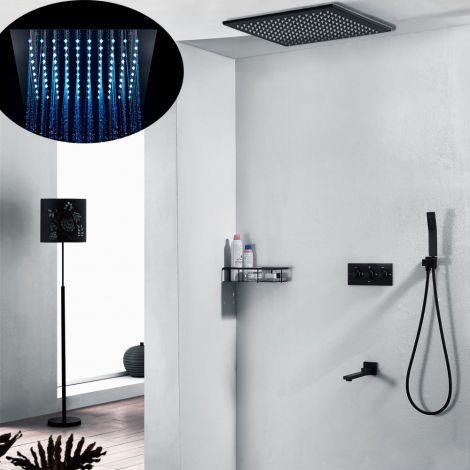 Duscharmatur Unterputz Thermostat mit Kopfbrause und Handbrause in Schwarz/Chrom