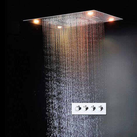 Led Duschsystem Unterputz Luxuriös Regenfall Regenbrause Eckig in Chrom