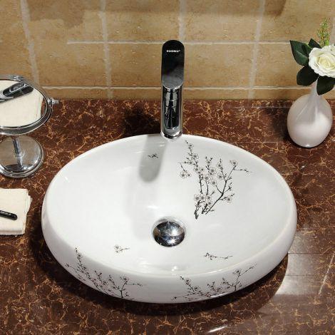Keramik Waschbecken mit Floral Muster in Weiß für Badezimmer ohne Wasserhahn