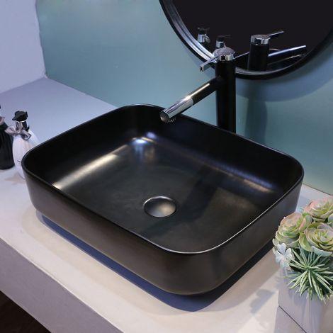 Eckiges Waschbecken aus Keramik in Schwarz für Badezimmer ohne Wasserhahn