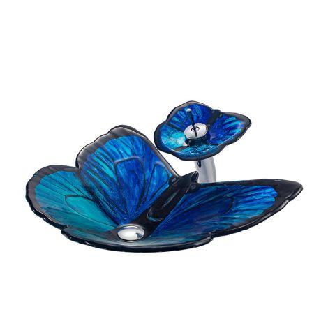 Glas Waschbecken Set Schmetterling Design mit Wasserfall Wasserhahn